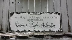 HAPPILY EVER AFTER Sign | Custom Name Sign | Personalized Wedding Sign | Shabby Chic Sign | Mr & Mrs Sign | Wedding Signs | Vintage Inspired