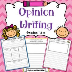 This Opinion Writing packet will help your first grade students understand how to write an opinion piece! Use these prompts during writer's workshop, writing center time, morning work, or homework! Your 1st grade or 2nd grade students will have fun with this unit!