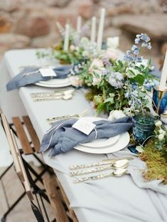 Soft Blue and Moss Centerpiece Wedding Inspiration // boho, rustic