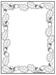 cornicetta-autunno Fall Coloring Pages, Coloring For Kids, Free Coloring, Coloring Sheets, Coloring Books, Picture Borders, Page Borders, Borders For Paper, Borders And Frames