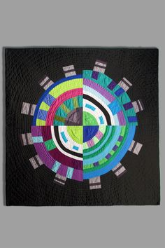 """Circular Circularis, 44"""" X 44"""", machine pieced and quilted, commercial cottons. 2011"""