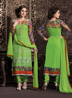 Green Colour Georgette based Semi Stitch Dress Material - JustKartIt