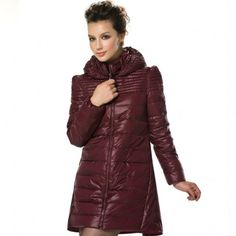 Women's Stylish Stand Collar Zip-up Mid-length Hoodie Down Jacket
