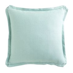Wisteria - Accessories - Shop by Category - Throw Pillows -  Linen Pillow - Aqua Flanged - $49.00