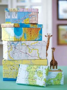Map Crafts: 20 Unique Ideas You'll Love Shoeboxes wrapped in maps make great storage boxes! Crafts: 20 Unique Ideas You'll Love Shoeboxes wrapped in maps make great storage boxes!Shoeboxes wrapped in maps make great storage boxes! Map Crafts, Diy And Crafts, Crafts With Maps, Diy Storage, Storage Boxes, Smart Storage, Storage Ideas, Storage Containers, Bedroom Storage