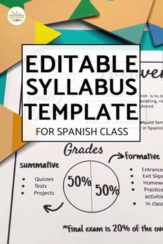 Check out this EDITABLE syllabus template for a middle school or high school secondary Spanish class! Easily edit this creative syllabus using Google Slides or Powerpoint. Perfect visual layout, without large paragraphs or chunks of text! Make sure your classroom is back to school ready with this cute template including expectations, procedures, policies, contact info, and more! Click to see more! #spanishclass #secondaryspanish Classroom Expectations, Classroom Rules, Spanish Classroom, Spanish Lesson Plans, Spanish Lessons, Middle School Spanish, Back To School, Syllabus Template, Spanish 1
