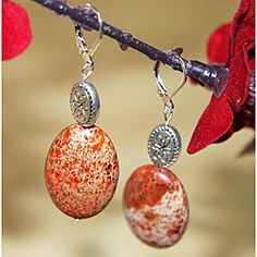 """Susen Foster's """"Silver Mountain"""" - Orange Variscite earrings with great silver plated ovals, goes with so many outfits and has a matching necklace by the same name on Overstock."""