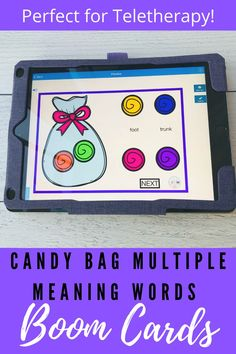These multiple meaning boom cards are perfect for Speech Therapy teletherapy.  This vocabulary activity is great to use for 3rd grade, 4th grade  5th grade students!  These boom cards are interactive and is a fun candy themed activity that will engage your students!  Great addition to your digital resource library and perfect use during times of distance learning!
