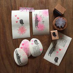 Osterpost mit niedlichen Stempeln, Hase, Vogel & Co Easter letter, stamp, DIY, handmade