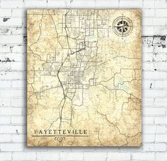 FAYETTEVILLE AR Canvas Print Arkansas Ar Vintage map Fayetteville Ar City Vintage Wall Art Gift home decor card poster Vintage retro old map