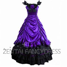 Shoulder Strips Narrow Waist Multi Layers Purple And Black Gothic Victorian Dress