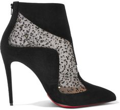Christian Louboutin - Papilloboot 100 Embellished Mesh And Suede Ankle Boots - Black