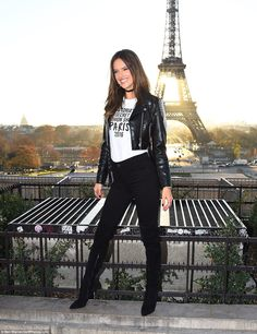 What a body: Alessandra showed off her long legs in her skinny jeans and knee-high suede boots with stiletto heels