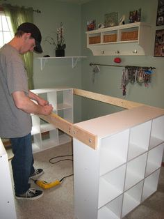 DIY craft desk. The site has complete photos and instructions. Lacey likes the shelf