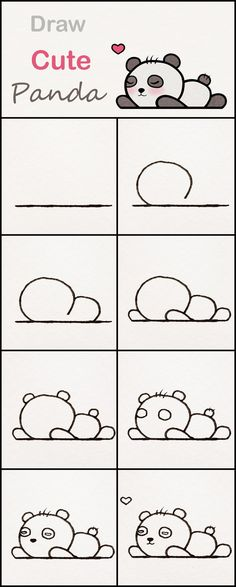 Learn how to draw a cute baby Panda step by step ♥ very simple tutorial panda . Zeichnungen iDeen ✏️ manualidades kawaii Learn how to draw a cute baby Panda step by step ♥ very simple tutorial panda . Drawing Lessons, Drawing Techniques, Drawing Tips, Art Lessons, Drawing Ideas, Teaching Drawing, Easy Drawing Steps, Easy Drawing Tutorial, Drawing Tutorials For Kids