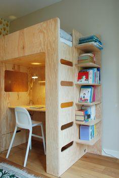 Bedstede | Slaaphut | Arnoud Dijkstra Kidsroom, Bunk Beds, Bookcase, Loft, Shelves, Interior, Furniture, Home Decor, Woodwork
