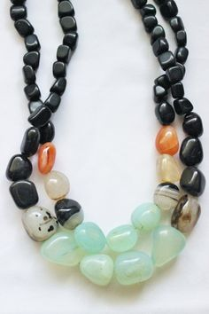 Chunky black necklace semiprecious stones by StarsonMarsJewelryCo