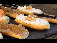 Cómo hacer tostas variadas de queso crema y foie-gras  Receta de tostas variadas FÁCILES - YouTube Foie Gras, Hot Dog Buns, Hot Dogs, Cheesesteak, Baked Potato, Dips, Potatoes, Bread, Baking