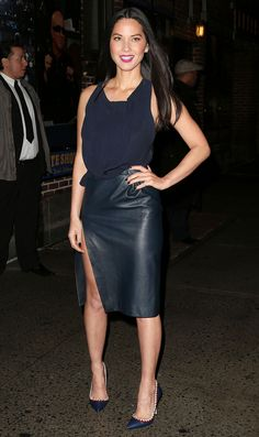 """dailyactress:""""Olivia Munn - at the Late Show with David Letterman in NYC Munn leggy in a high thigh split leather skirt Olivia Munn, Combo Dress, Famous Stars, Perfect Woman, Hollywood Celebrities, Dress With Boots, Woman Crush, Beautiful Celebrities, Satin Dresses"""