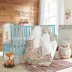 The Levtex Baby Anika Crib Bedding Collection features Moroccan-inspired medallion and floral prints in vibrant hues. Each piece adds playful style to the decor while offering soft fabric for lasting comfort and fun themes for enduring style.