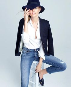 Le-Fashion-Blog-Preppy-Chic-Behati-Prinsloo-JCrew-Lookbook-Hat-Schoolboy-Blazer-White-Button-Down-Shirt-Jeans-Velvet-Loafers