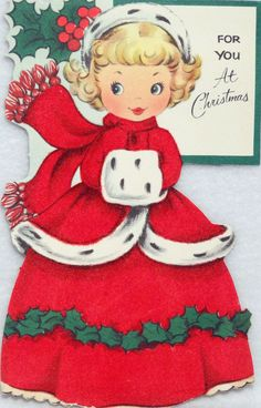 467 50s Girl in Flocked Dress Vintage Juvenile Diecut Christmas Card Greeting | eBay