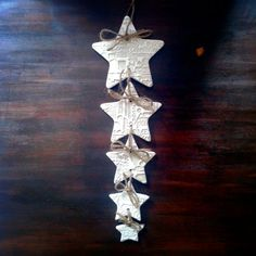 Gold and White Star Shaped Clay Garland with di AntiqueRoseDesign, £14.95