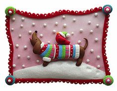 (Winter Doxie) Polymer Clay fritz2 by Katie Kinnear on flickr