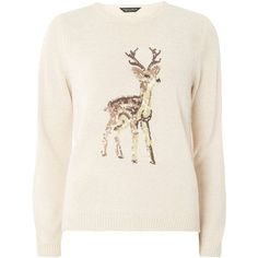 Dorothy Perkins Oat Sequin Reindeer Jumper ($49) ❤ liked on Polyvore featuring tops, sweaters, shirts, christmas, blusas, beige, pink sweater, pink shirts, christmas sweaters and sequin shirt