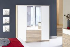 Vetnor 4 door wardrobe makes an ideal solution for any modern bedroom with its reasonable storage space and easy to fit attribute The internal layout 4 Door Wardrobe, Mirrored Wardrobe, Sonoma Oak, Teenage Room, Hanging Rail, Mirror Door, Modern Bedroom, Decoration, Storage Spaces