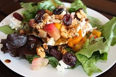 Roasted Beet Salad with oranges, walnuts, dried cherries & goat cheese