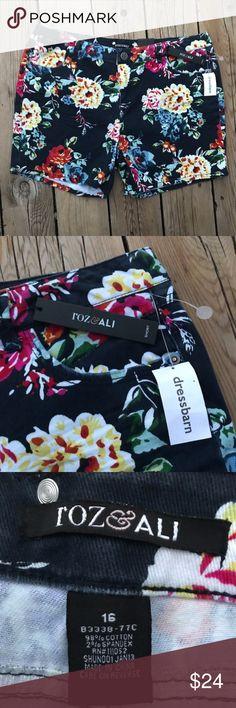 """NWT Roz & Ali Navy Floral Shorts - Cotton- Size 16 Roz & Ali floral shorts, new with tags. Size 16, 5"""" inseam. 98% cotton, 2% spandex Roz & Ali Shorts"""