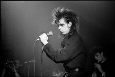 Nick Cave live on stage, Brixton, 1982