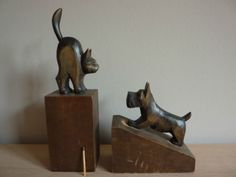 Serres-livres-bois-boeksteun-bookends-buchstutzen-scottish-terrier-Art-deco-1930