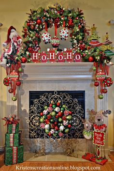 Christmas Mantle. Garland around the mirror instead of across the mantle. Kristen's Creations