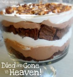 all you get is a pkg. brownie mix, chocolate pudding, whip cream, heath candy bars.  cook your brownies as instructed on box. get out your truffle bowl. crumble brownie on bottom of bowl, then put a layer of chocolate pudding, layer of whip cream, and layer of crushed heath bar, continue to layer all the way up to the top of the bowl. chill for one hour. This is my Nana's recipe and a hit for all get togethers !!!