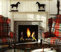 Beautiful Tartan plaid chairs, fireplace and