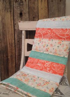 Touch of Vintage Baby Quilt lace coral peach mint blue by Nooches, $80.00