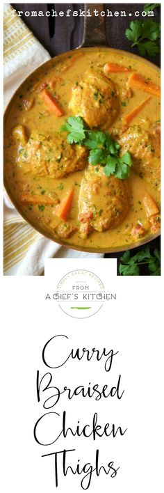 Indiase Gerechten- Add spice to your braised chicken legs with curry.- Add spice to your Indian-inspired curry braised chicken legs! Pollo Al Bourbon, Indian Food Recipes, Asian Recipes, Jamaican Recipes, Braised Chicken Thighs, Chicken Thigh Recipes, Chicken Legs, Lemon Chicken, Creamy Chicken