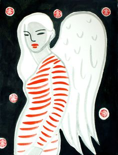 BW&R angel woman.black white and red