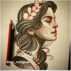 Desenho mulher neotrad                                                                                                                                                                                 More Cool Sketches, Tattoo Sketches, Tattoo Drawings, Elephant Sketch, Mujeres Tattoo, Neo Tattoo, Traditional Tattoo Design, Ange Demon, Art Folder