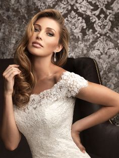 All S13-1, Allure Wedding Gown. Bridal Gown.  Off shoulder fitted all lace gown.  Princess Brides.