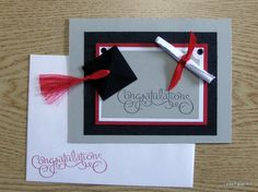Handmade PaperArt Graduation Congrats Greeting Card Card, Stampin Up Image, Heavily Embellished, Blank Inside. $4.00, via Etsy.