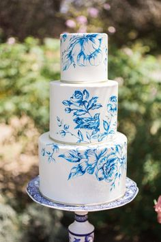 Hand-painted toile-inspired wedding cake, created by Kimberly Bailey from The Butter End Cakery.