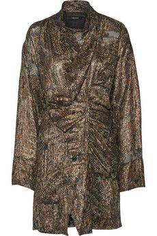 Isabel Marant Pasadena draped metallic silk-blend dress | THE OUTNET
