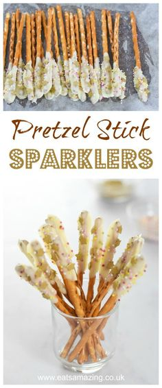 Quick and easy chocolate pretzel edible sparklers recipe - fun food for kids for bonfire Night or New Years Eve party food - Eats Amazing UK #Bonfire #bonfirenight #fireworks #partyfood #sprinkles #chocolate #pretzel #whitechocolate #newyear #newyearparty #funfood #kidsfood #easyrecipe