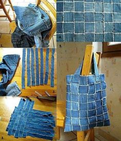 There are many ways to reuse old jeans . I like this jeans handbag too ! With the same technology , you can make a stylish vest. You will need: - old jeans; - needle and thread (sewing machine). Directions: Cut several long and even strips. Jean Crafts, Denim Crafts, Artisanats Denim, Denim Fabric, Denim Purse, Patchwork Jeans, Patchwork Quilting, Canvas Fabric, Woven Fabric