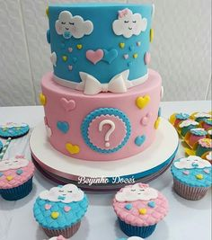 Baby Shower Cupcakes, Shower Cakes, Twin Birthday Cakes, Bolo Fake, Gender Reveal, Cake Designs, Biscuit, Shower Ideas, Pregnancy