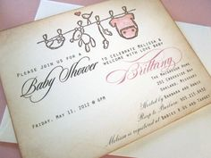 Baby Shower Invitation AS SEEN ON Disney Baby- Onesie clothesline - vintage appearance- set of 20