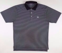 c81bf24438a3 PETER Millar MEDIUM Summer COMFORT Polo SHIRT Striped BLACK White MENS Size  SZ